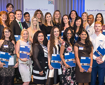 Student Prize winners pictured with School of Business and Law Executive Dean, Professor Maryam Omari.