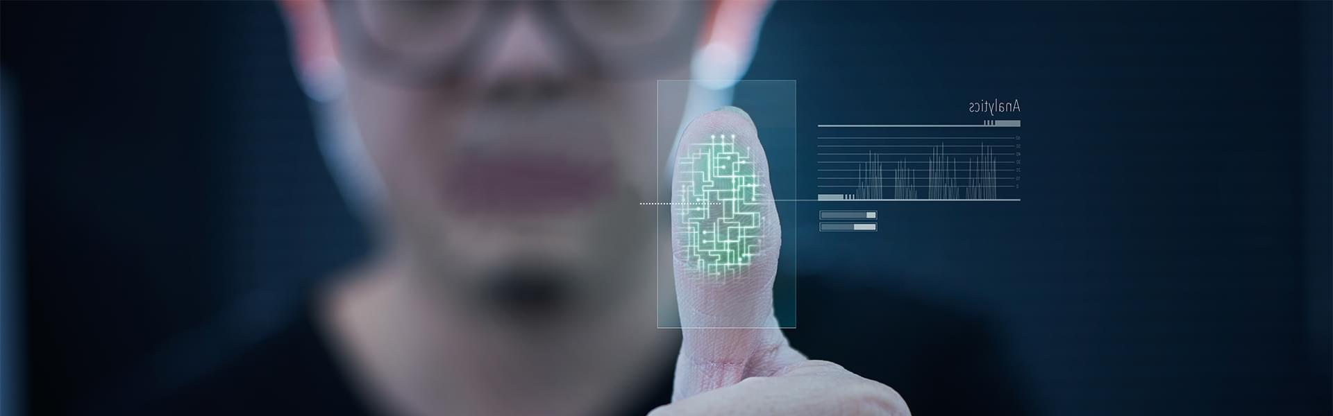 Glowing biometric fingerprint