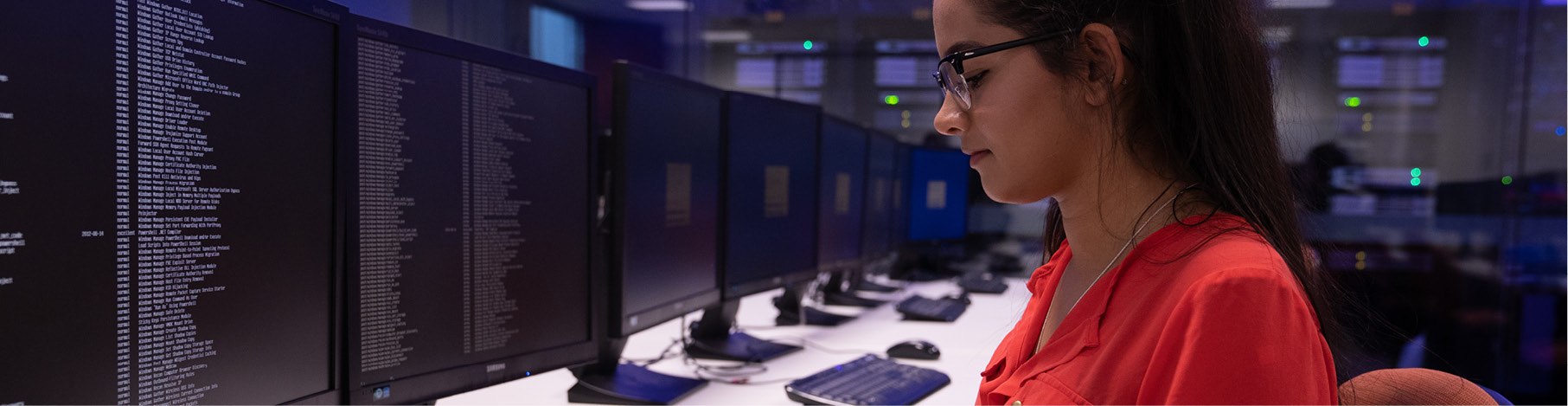 A student working in the server room.