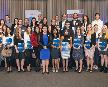 Associate Professor Maryam Omari with the School of Business and Law 2015 Student Prize winners