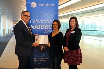 Victor Howard (Acting CEO, Perth Airport), Kye McGuire and Natasha Allchurch (ECU)