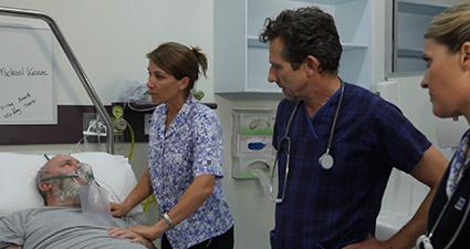 Image shows a scenario displaying leadership and teamwork in medical emergency teams