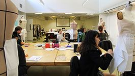 Fashion students in a draping class