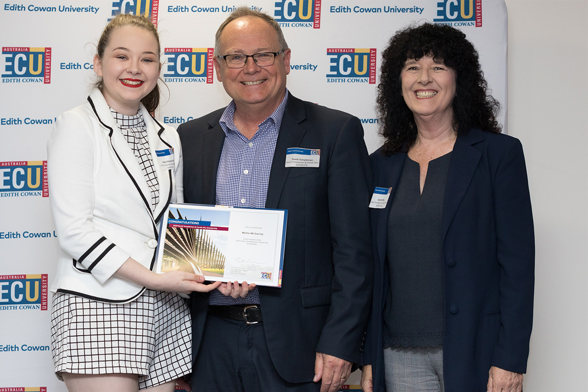 From left to right: David Templeman & Carole Dhu Scholarship recipient, Mollie McGarrity with David Templeman and Carole Dhu