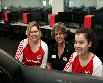 Right to Left: Software Engineer Georgia Maher, Dr Michelle Ellis, Software Engineer Taylah Griffiths.