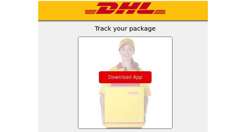 Image of smartphone screen asking user to download an app to track a package.