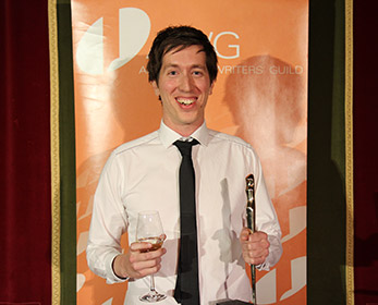 Screen Academy graduate Gary Sewell celebrates winning a 2013 AWGIE for Best Episode, Television Serial