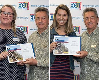 ECU Arts and Humanities Executive Dean's Travel Scholarship Winners, Olivia Colja and Tamrah Bartlett