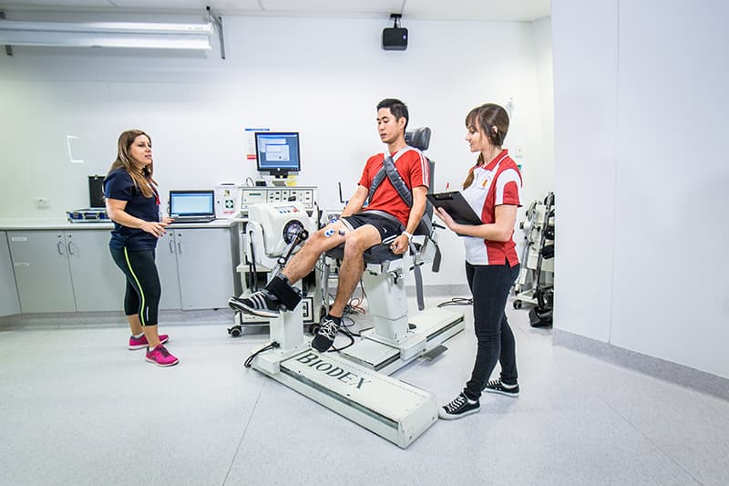 Students in exercise science lab