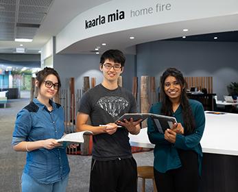 Students collaborating at Joondalup Campus Library.