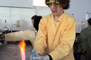 Young scientist around his bunsen burner
