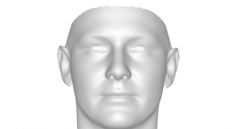 A rendering of a 3D face scan used in this research.