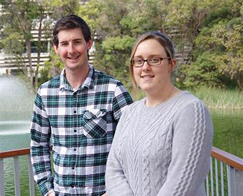 Huntington's disease researchers - Dr Travis Cruickshank and Danielle Bartlett