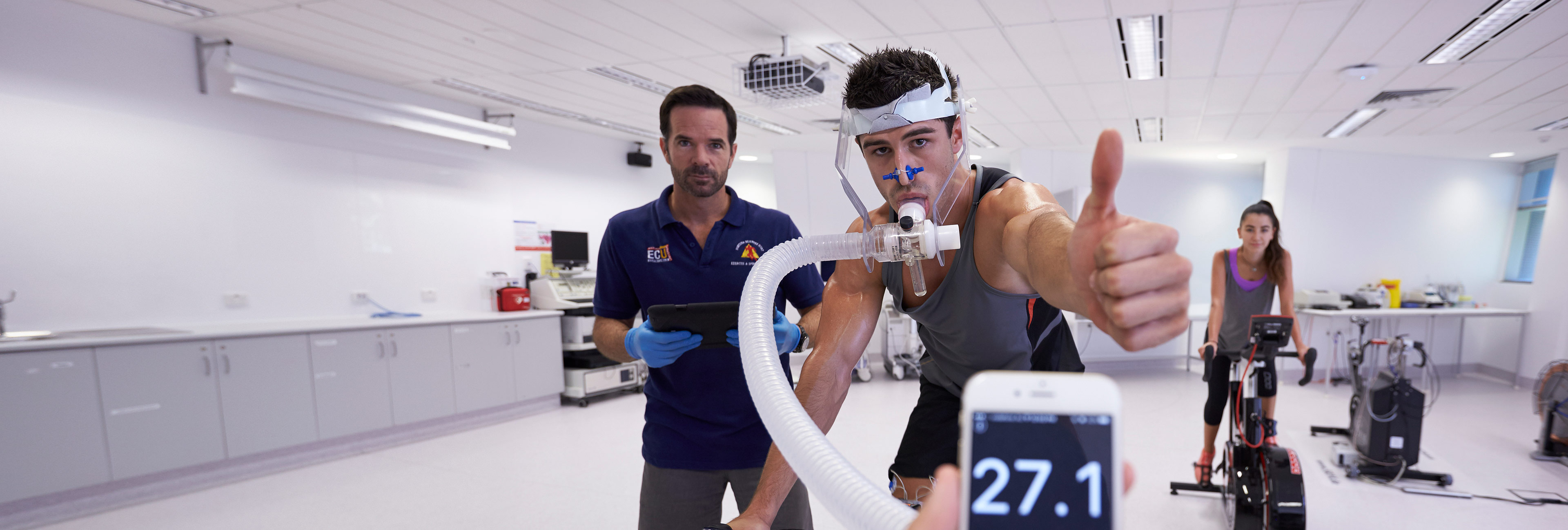 Athlete being measured on exercise bike
