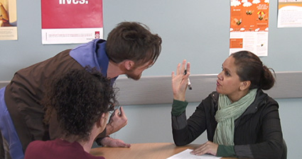 Image shows a scenario demonstrating communication in family centred care